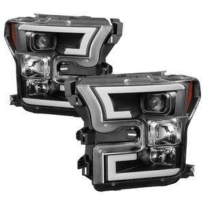 FORD F150 2015-17 PROJECTOR HEADLIGHT/ DRL LIGHT BAR BLACK SPYDER