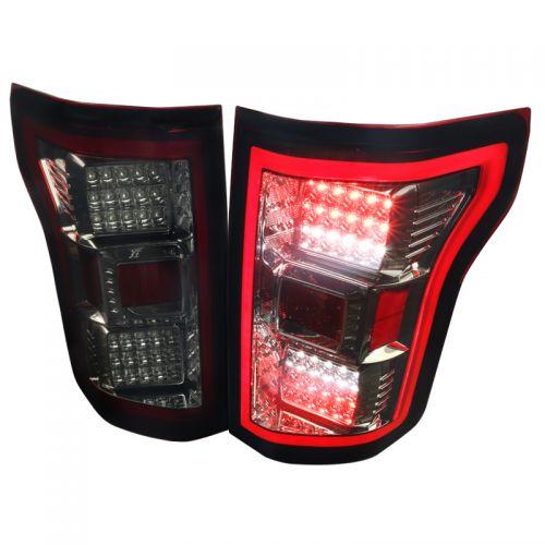 FORD F150 2015-17 LED TAIL LIGHTS CHROME SMOKE LENS
